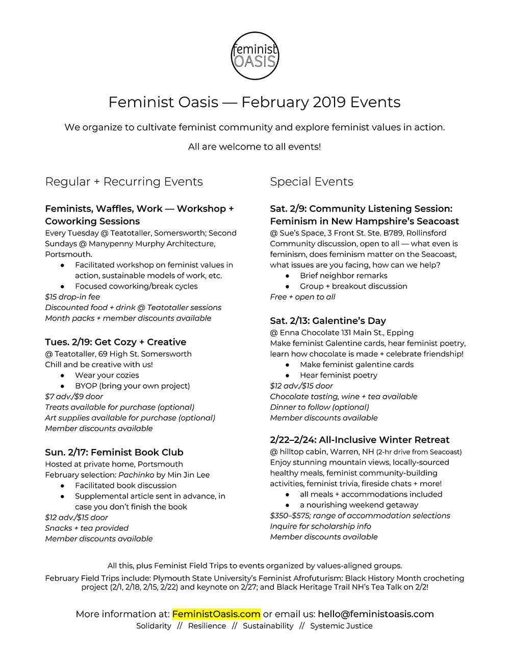 Our February 2019 events lineup