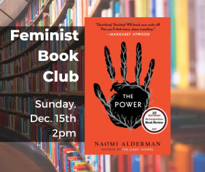 "Book cover of ""The Power"" novel by Naomi Alderman with date and time listed (Dec 15th 2pm)"